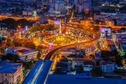 Thailand victory monument and main traffic for road in Bangkok, Thailand