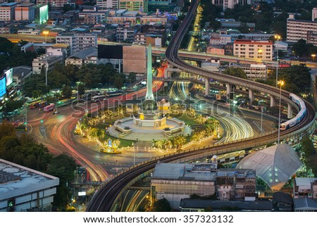 Thailand victory monument, km 0and main traffic for road in Bangkok, Thailand