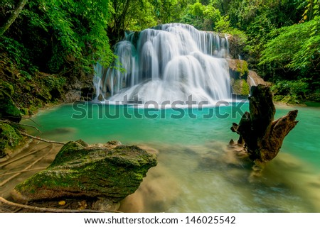 Thailand waterfall in Kanjanaburi (Huay Mae Kamin) - stock photo