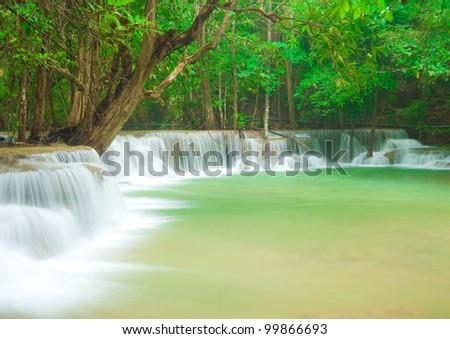 Thailand waterfall in Kanjanaburi Province - stock photo