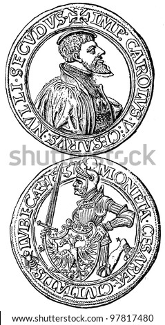 """Thaler Lubeck, 1557 - an illustration to articke """"Coins"""" of the encyclopedia publishers Education, St. Petersburg, Russian Empire, 1896 - stock photo"""