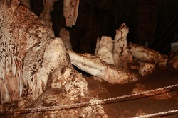 Tham Lot cave system filled with stalactites and stalagmites near Sop Pong in Mae Hong Son Province in Thailand