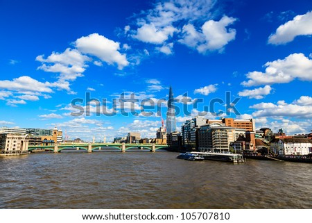 Thames River and Southwark Bridge in London, United Kingdom