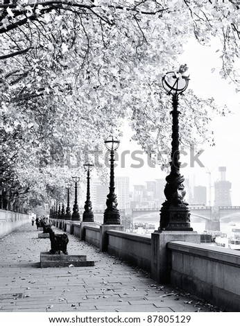 Thames river bank in London - stock photo
