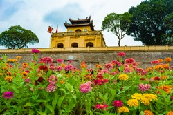 Thang Long Imperial Citadel in Hanoi, Vietnam; photographed in a cloudy summer morning.