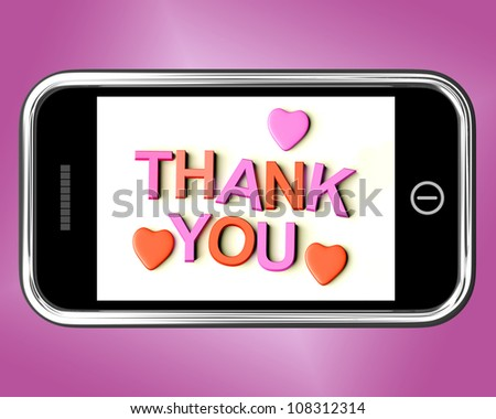 Thank You And Hearts Message As Thanks Sent On A Mobile
