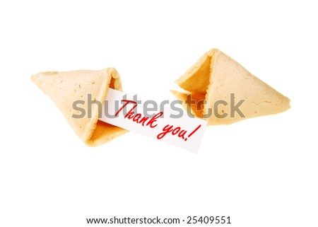 THANK YOU! - backlit single fortune cookie over white