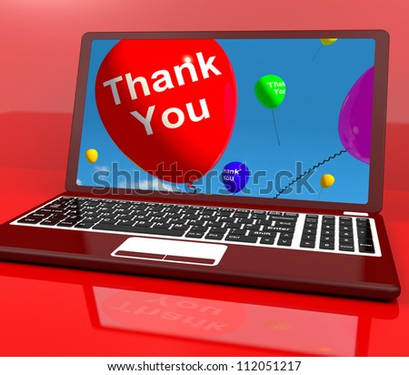 Thank You Balloon On Computer Shows Online Thanks Message