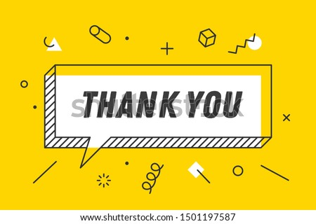 Thank You. Banner, speech bubble, poster concept, geometric style with text thank you. Icon balloon with quote message thank you. Explosion burst design. Illustration