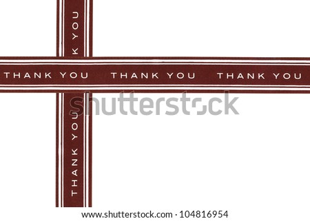 Thank you brown ribbon isolated on white background
