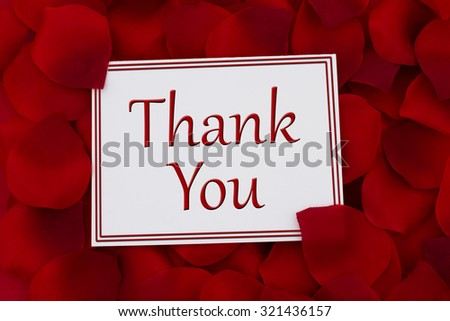 Thank You Card, A white card with text Thank You and a red rose petal backgrounds