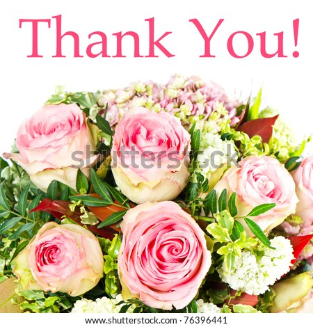 thank you. card concept. bouquet of pink roses