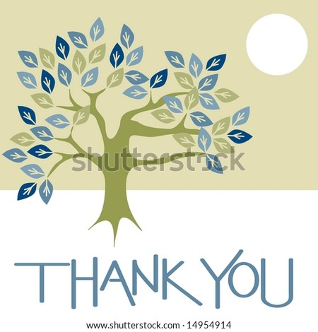 Thank you card graphic with tree and sun