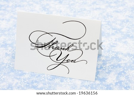 Thank you card on blue snowflake background, thank you card