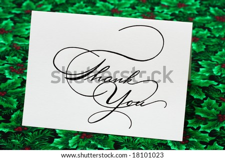 Thank you card on leaf and holly berry background, thank you card