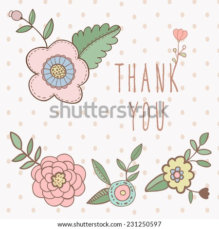 Thank You Card With Flowers Shabby Chic Ez Canvas