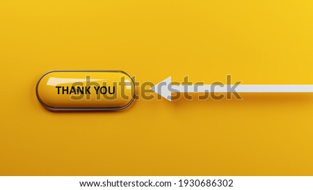 Thank you concept Yellow push button with thank you text on yellow-colored background Horizontal composition with copy space 3d rendering Photo stock ©
