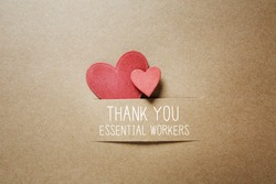 Thank You Essential Workers message with handmade small paper hearts