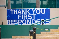 Thank you first responders banner Downtown Fort Lauderdale FL