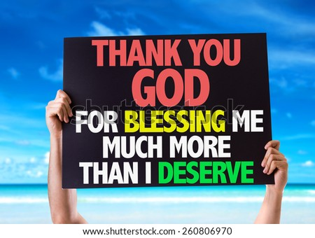 Thank You God For Blessing Me Much More Than I Deserve card with beach background