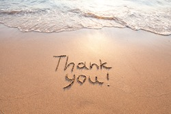 thank you, gratitude concept, beautiful card, word written on sand beach