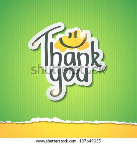Thank You inscription on paper sticker - stock photo