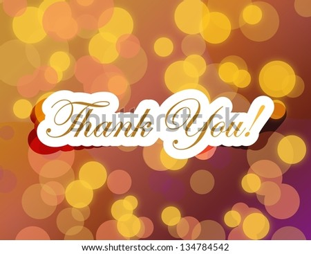 thank you lettering illustration design on a gold background