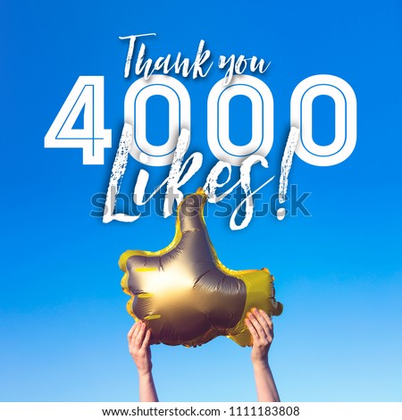 Thank you 4000 likes gold thumbs up like balloons social media template banner #1111183808
