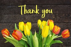 Thank You Message, Colorful tulips on wooden background. Spring flower background with blooming tulips, mockup template with copy space, backdrop for seasonal greeting card celebration. Mother's Day.