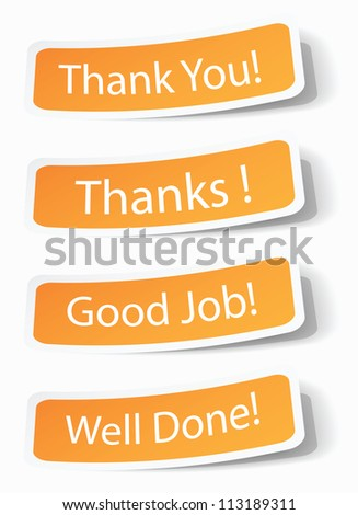 Thank you notes as stickers with shadow effects, vector illustrations in eps10.