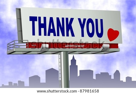 Thank you spelled on a big advertising billboard with a city in the background / Thank you billboard