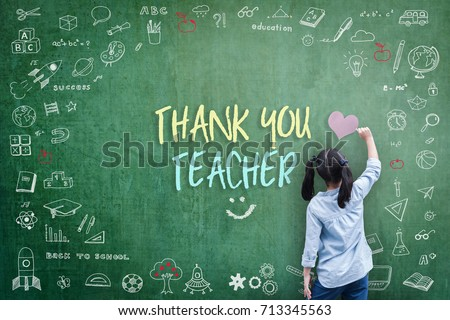 Thank You Teacher greeting card for World teacher's day concept with school student back view drawing doodle of of learning education graphic freehand illustration icon on green chalkboard #713345563