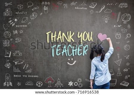 Thank You Teacher greeting card for World teacher's day concept with school student back view drawing doodle of of learning education graphic freehand illustration icon on black chalkboard #716916538