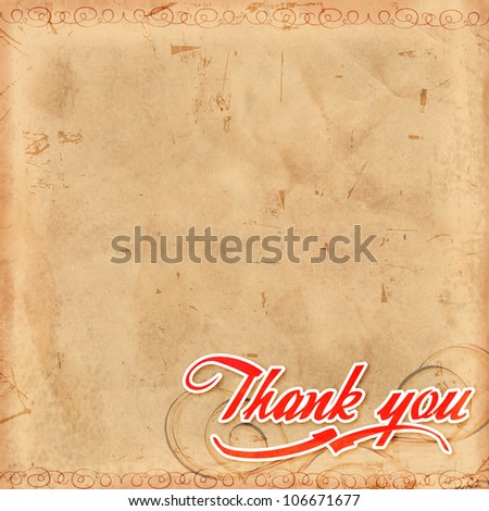 Thank you, text over old paper with decoration