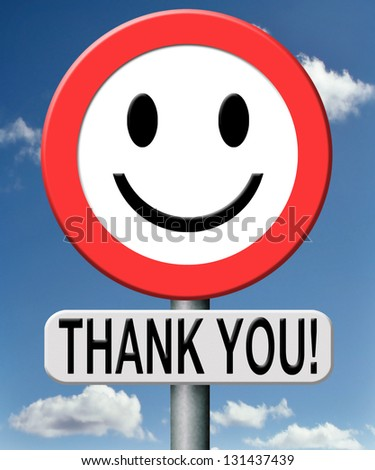 thank you thanks expressing gratitude note on a road sign - stock photo