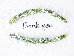 Thank you winter card on a white background