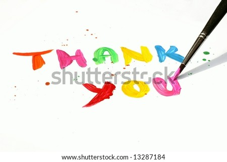 Thank You written in vibrant colors as painting with paintbrush on white background
