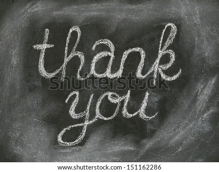 THANK YOU written with chalk on black chalkboard