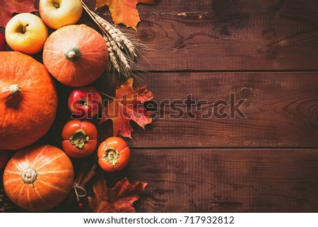 Thanksgiving background: pumpkins, apples, persimmon, maple leaves, cones and spices on brown wooden background. Seasonal fall background for Thanksgiving or Halloween. Design mock up. Horizontal