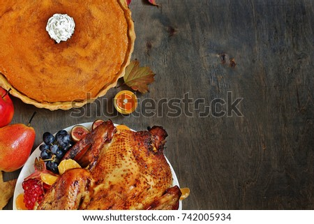 Thanksgiving background. turkey on a dark background. view from above. copy space. Flatlay
