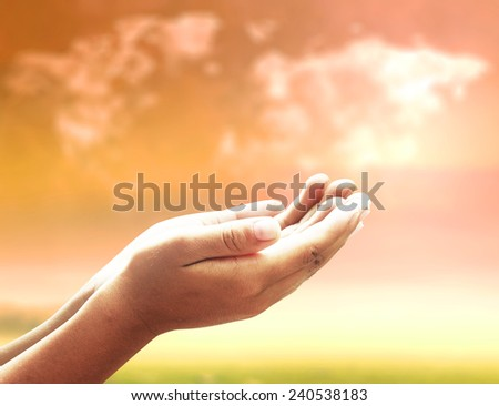 Thanksgiving concept: Catholic people open empty hands with palms up, over world map of clouds background. #240538183