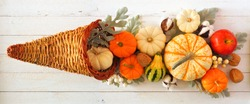 Thanksgiving cornucopia filled with autumn pumpkins and vegetables. Top view against a white wood background.