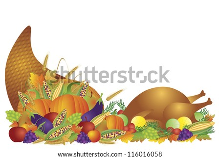 Thanksgiving Day Fall Harvest Cornucopia with Turkey Dinner Feast Pumpkins Fruits and Vegetables Raster Vector illustration