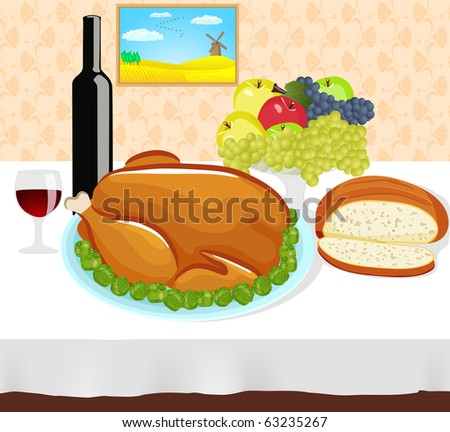 Thanksgiving dinner filled with roasted turkey, wine,  bread and fruit