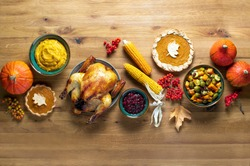 Thanksgiving dinner food, fall festive culinary concept, top down view, copy space for a text