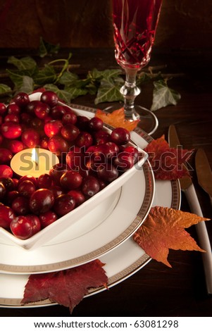 Thanksgiving dinner table closeup with cranberries and autumn leaves