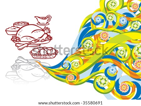 Thanksgiving food in abstract collage. Format A4. See this illustration in vector in my portfolio.