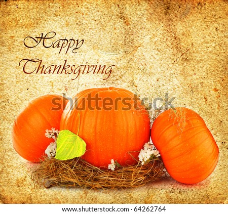 Thanksgiving holiday greeting card with orange gourds