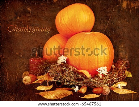 Thanksgiving holiday greeting card with orange gourds & candle