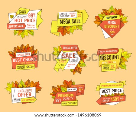 Thanksgiving offer sale tags with adverts. Exclusive price 99.90 promotional label with maple leaves, oak foliage autumn symbols emblems isolated raster